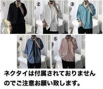 Street Style Plain Short Sleeves Oversized Shirts