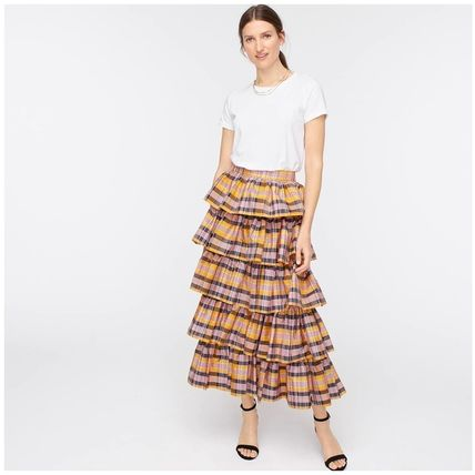 Pencil Skirts Flower Patterns Casual Style Office Style