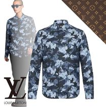 Louis Vuitton Camouflage Silk Long Sleeves Front Button Shirts