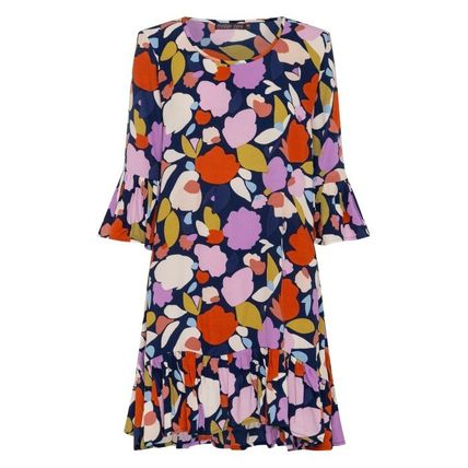Short Flower Patterns Casual Style Cropped Dresses