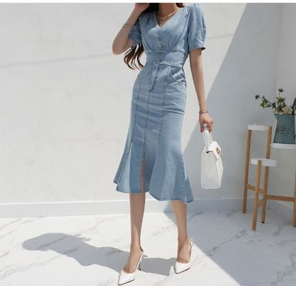 Casual Style Tight Denim V-Neck Cropped Plain Long