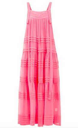 Casual Style A-line Silk Sleeveless Flared Long Party Style