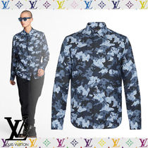Louis Vuitton Button-down Camouflage Silk Street Style Long Sleeves Shirts