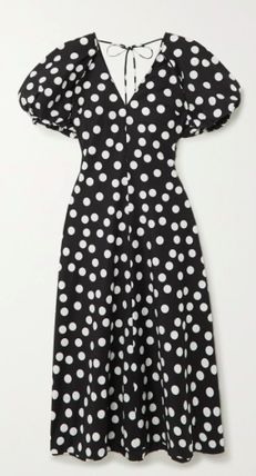 Dots Casual Style Maxi A-line Flared V-Neck Cotton Long