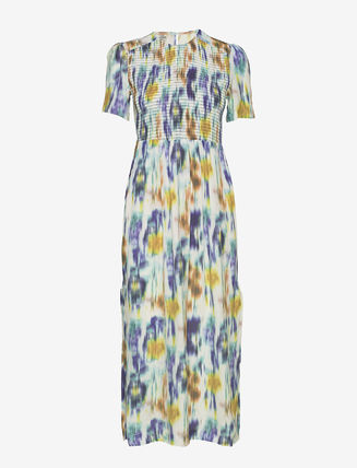 Flower Patterns Maxi A-line Cotton Long Short Sleeves