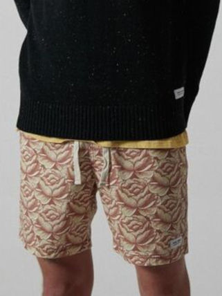 Flower Patterns Tropical Patterns Street Style Cotton Shorts