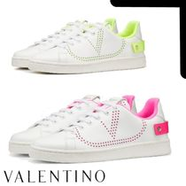 VALENTINO BACKNET Rubber Sole Casual Style Plain Leather Logo Neon Color