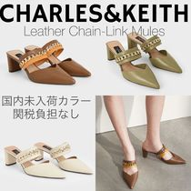 Charles&Keith Casual Style Leather Block Heels Party Style Office Style