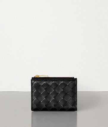 BOTTEGA VENETA Unisex Calfskin Lambskin Plain Folding Wallet Long Wallet