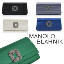 Manolo Blahnik Blended Fabrics Party Style Elegant Style Bridal Clutches