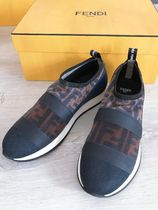 FENDI Plain Toe Rubber Sole Casual Style Blended Fabrics