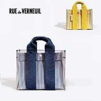 RUE DE VERNEUIL Stripes Casual Style Canvas 2WAY Crystal Clear Bags