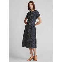 POLO RALPH LAUREN Dots Casual Style A-line Flared Medium Long Short Sleeves