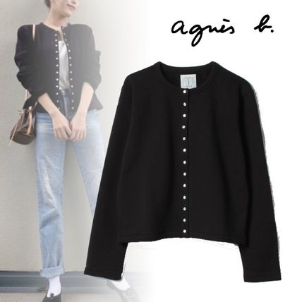 Agnes b Rib Long Sleeves Plain Cotton Medium Cardigans