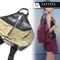 Aakasha Casual Style Suede A4 2WAY Bi-color Plain Leather