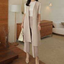Plain Long Office Style Vest Jackets