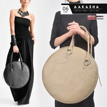 Aakasha Casual Style A4 2WAY Plain Leather Elegant Style Totes
