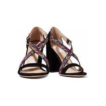 Mario Valentino Zigzag Open Toe Lace-up Casual Style Suede Blended Fabrics