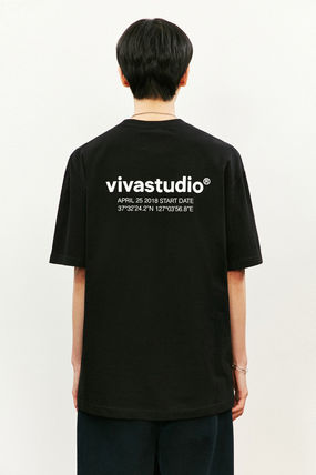 vivastudio Crew Neck Unisex Street Style Plain Cotton Short Sleeves