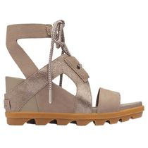 SOREL Plain Leather Platform & Wedge Sandals