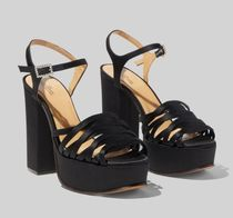 MARC JACOBS Open Toe Platform Casual Style Plain Leather Block Heels