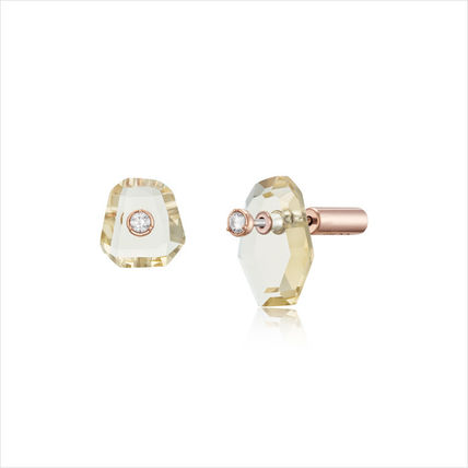 Casual Style Silver With Jewels Elegant Style Earrings