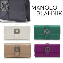 Manolo Blahnik Blended Fabrics Plain Party Style Elegant Style Clutches