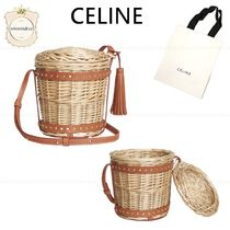 CELINE Leather Straw Bags