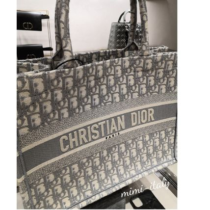 Christian Dior BOOK TOTE Unisex Canvas A4 Logo Totes