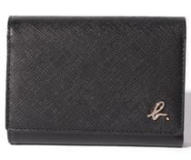 Agnes b Unisex Saffiano Bi-color Plain Leather Folding Wallet Logo