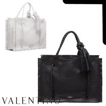 VALENTINO SHOPPING Casual Style Calfskin Suede Tassel A4 Plain Leather Fringes