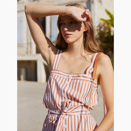 Stripes Casual Style Sleeveless Cotton Tanks & Camisoles