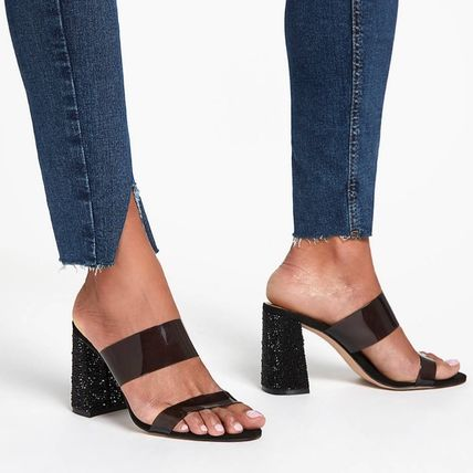 Open Toe Casual Style Plain Block Heels Party Style