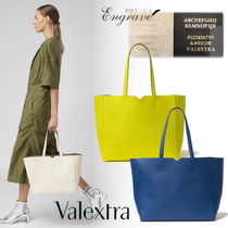 Valextra Casual Style Calfskin Suede Plain Leather Office Style