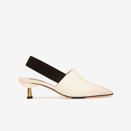 Square Toe Rubber Sole Plain Pin Heels Party Style