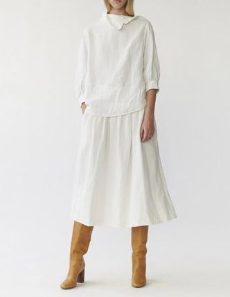 Flared Skirts Linen Plain Medium Midi Skirts
