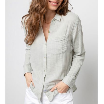 Casual Style Long Sleeves Plain Cotton Medium