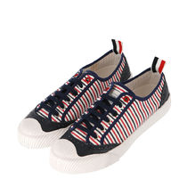 THOM BROWNE Stripes Casual Style Leather Logo Low-Top Sneakers