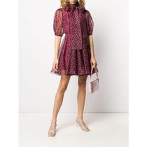 Dolce & Gabbana Short Dots Silk Flared Short Sleeves Party Style High-Neck