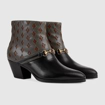GUCCI Plain Toe Blended Fabrics Street Style Leather Logo Boots