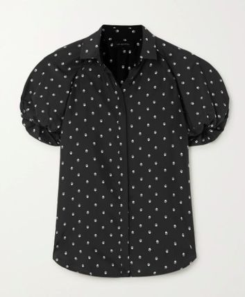 Flower Patterns Casual Style Silk Short Sleeves
