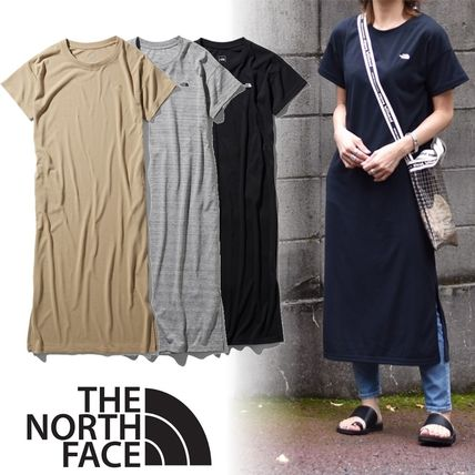 THE NORTH FACE Casual Style Maxi Short Sleeves Logo Dresses