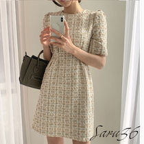 Short Casual Style Tight Tweed Party Style Elegant Style