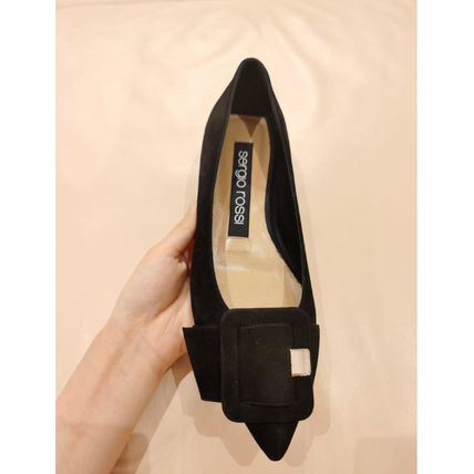 Sergio Rossi Casual Style Suede Plain Elegant Style Pointed Toe Shoes