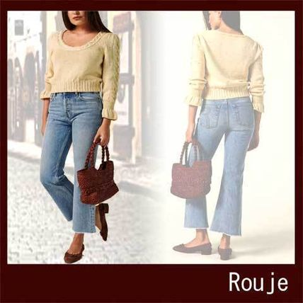 Short Casual Style U-Neck Long Sleeves Cotton Cropped