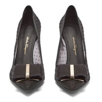 Salvatore Ferragamo Dots Casual Style Leather Pin Heels Party Style Office Style