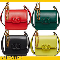 VALENTINO  VSLING Casual Style Calfskin 2WAY Chain Plain Leather Party Style