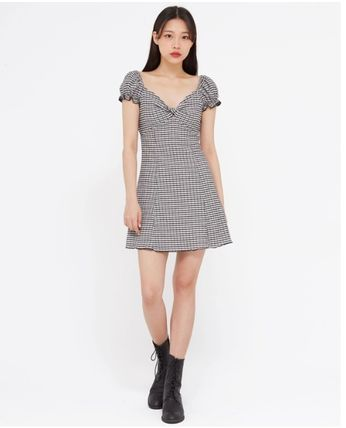 Short Gingham Other Plaid Patterns Casual Style A-line