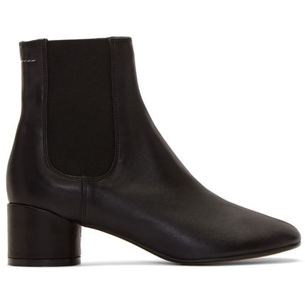Square Toe Plain Leather Block Heels Chelsea Boots