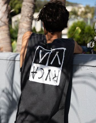 RVCA Vests & Gillets Unisex Sleeveless Street Style U-Neck Plain Logo